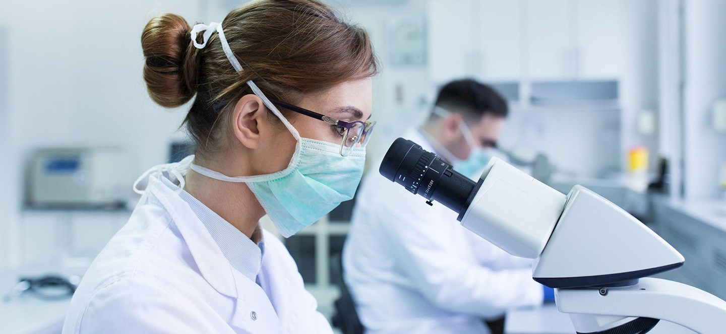 Two researchers in lab looking in microscopes